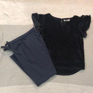 NWT LOFT navy velvet polka got blouse S